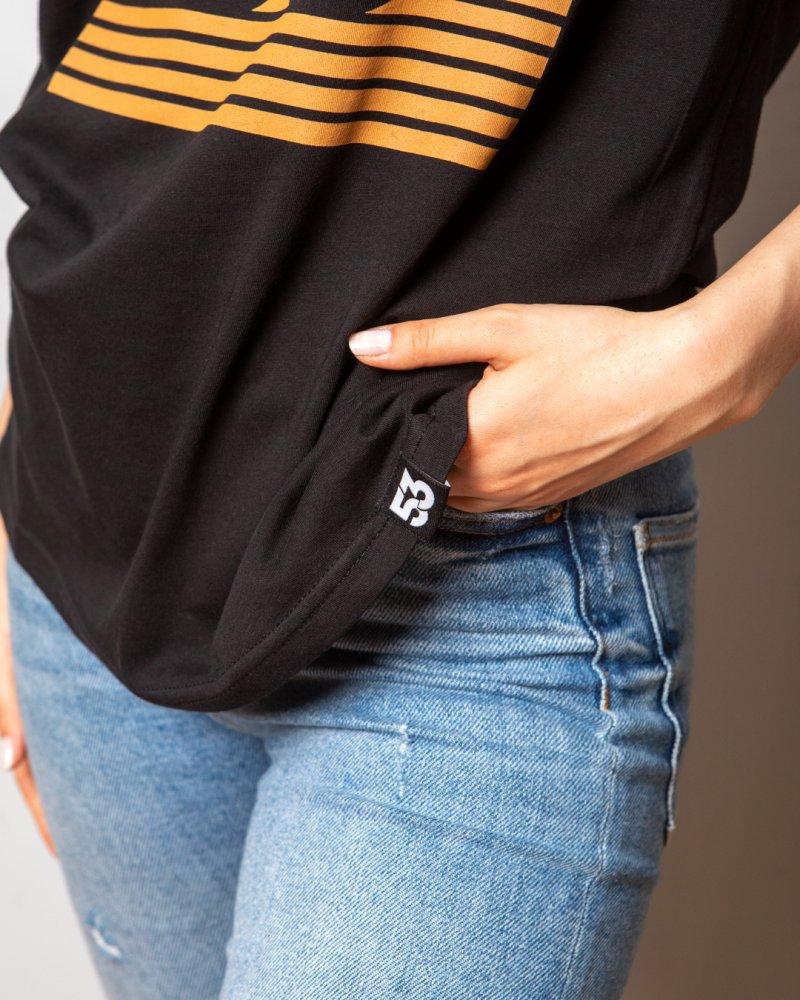 53 Çizgim Baskılı Bisiklet Yaka Siyah T-Shirt Unisex