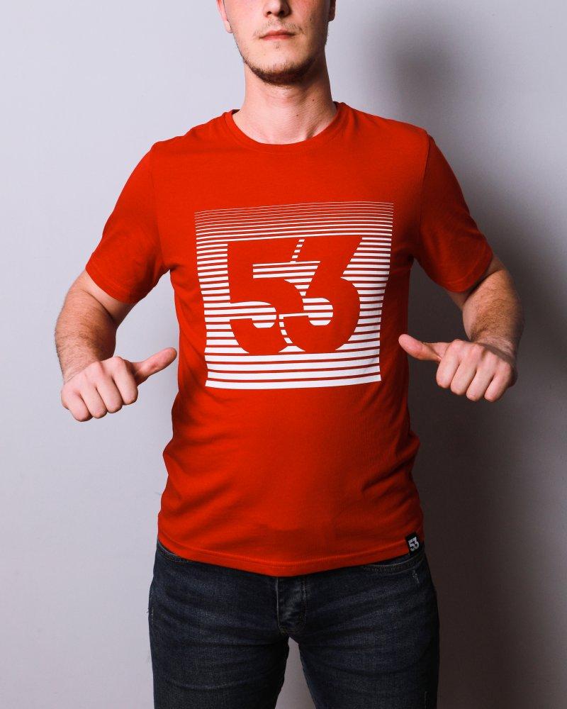53 Çizgim Baskılı Bisiklet Yaka Kırmızı T-Shirt Unisex