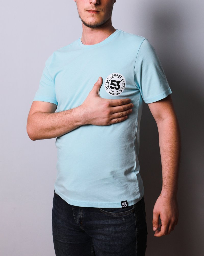 53 Logo Baskılı Bisiklet Yaka Açık Yeşil T-Shirt Unisex