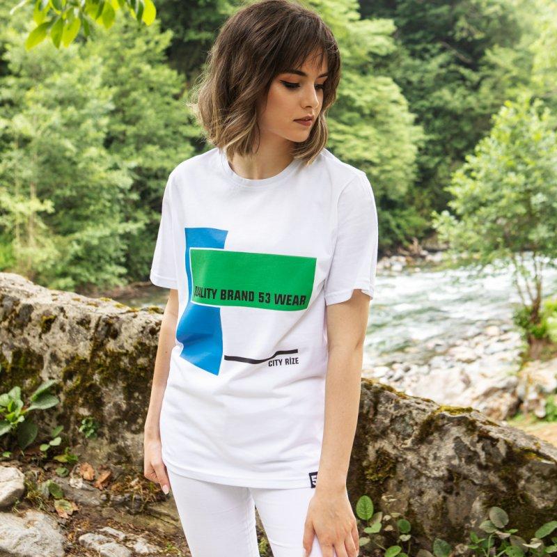 City Rize Baskılı Bisiklet Yaka Beyaz T-Shirt Unisex