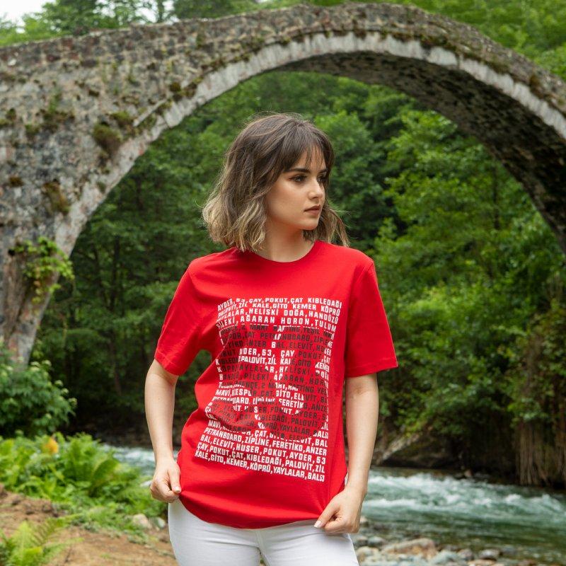 Yaylalar 53 Baskılı Bisiklet Yaka Kırmızı T-Shirt Unisex