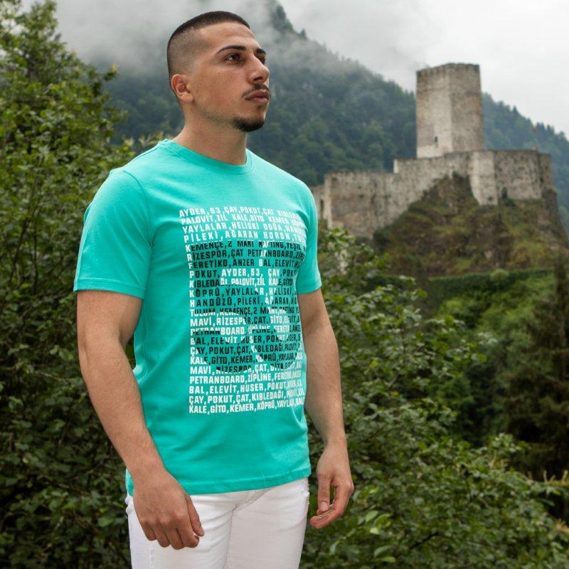 Yaylalar 53 Baskılı Bisiklet Yaka Yeşil T-Shirt Unisex