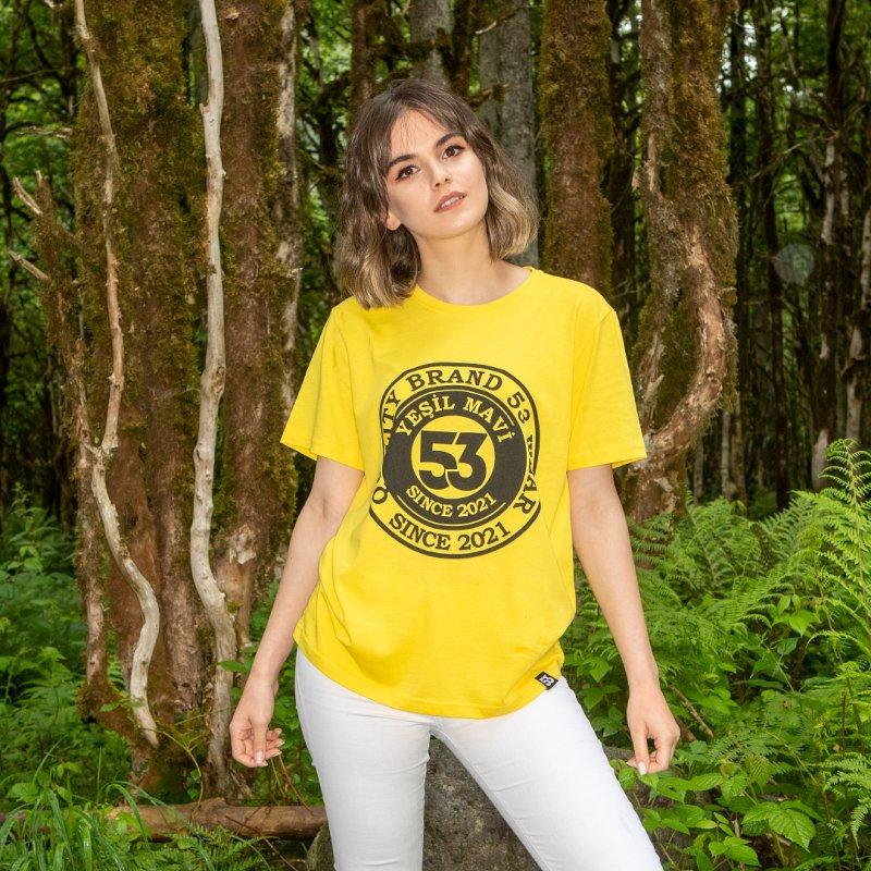 Since 2021 Baskılı Bisiklet Yaka Sarı T-Shirt Unisex