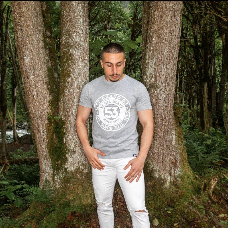Since 2021 Baskılı Bisiklet Yaka Gri T-Shirt Unisex