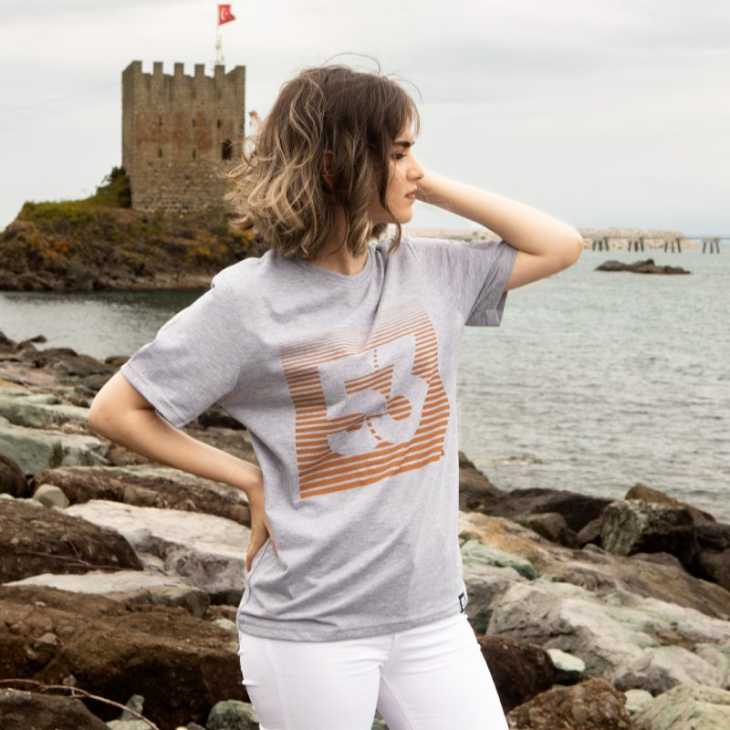 53 Çizgim Baskılı Bisiklet Yaka Gri T-Shirt Unisex